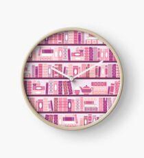 Rosa Bücherregal-Muster-Romance-Tee-Bücher Uhr