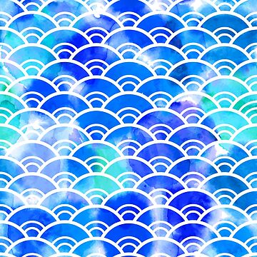 Seigaiha literally means wave of the sea. watercolor pattern abstract scales simple Nature background japanese circle blue green white colors.  by EkaterinaP