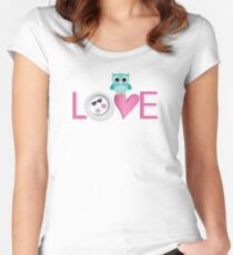 Love Owl with charm Women's Fitted Scoop T-Shirt