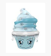 frierendes Cupcake Emoticon Fotodruck
