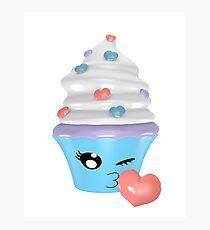 zwinkerndes Cupcake Emoticon Fotodruck