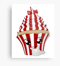 Cupcake Emoticon in Denkerpose Metalldruck