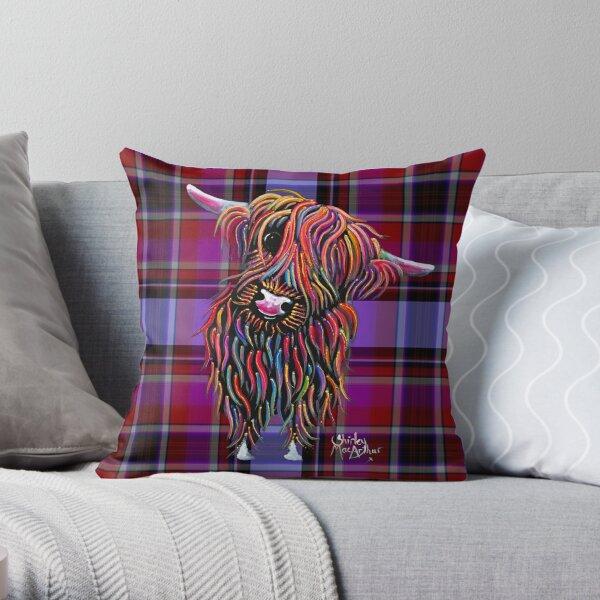 SCoTTiSH HiGHLaND CoW ' TaRTaN BoLLY P ' BY SHiRLeY MacARTHuR Throw Pillow