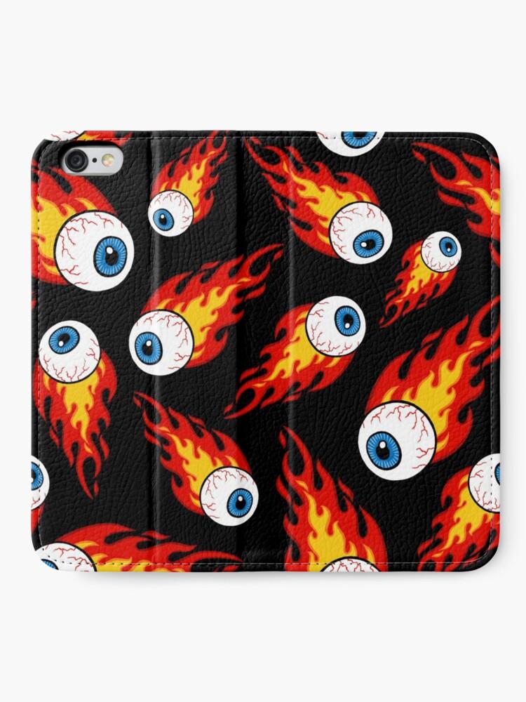 Alternate view of Flaming Eyeball Pattern iPhone Wallet
