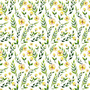 Hand painted yellow green watercolor spring floral by Kicksdesign