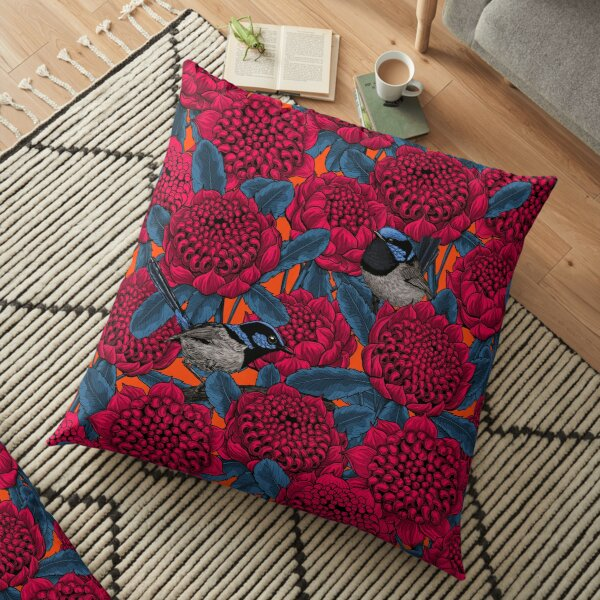Red waratah and fairy wrens Floor Pillow