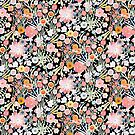 Summer Meadow Watercolour Pattern on Black by BinkyMcKee