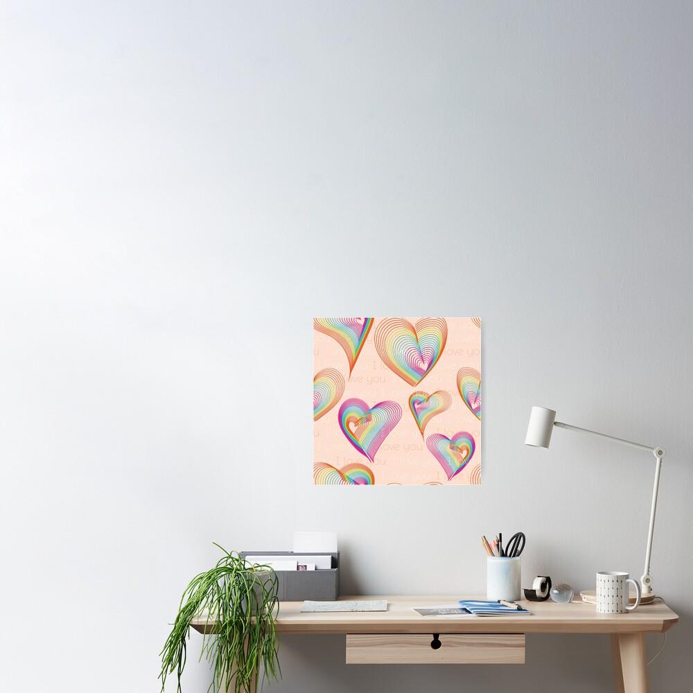 Rainbow hearts pattern Poster