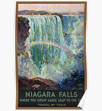 Póster Cataratas del Niágara Vintage Travel Poster restaurado