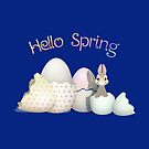Hello Spring - colorful kawaii bunny & easter eggs with typography by talgursmusthave