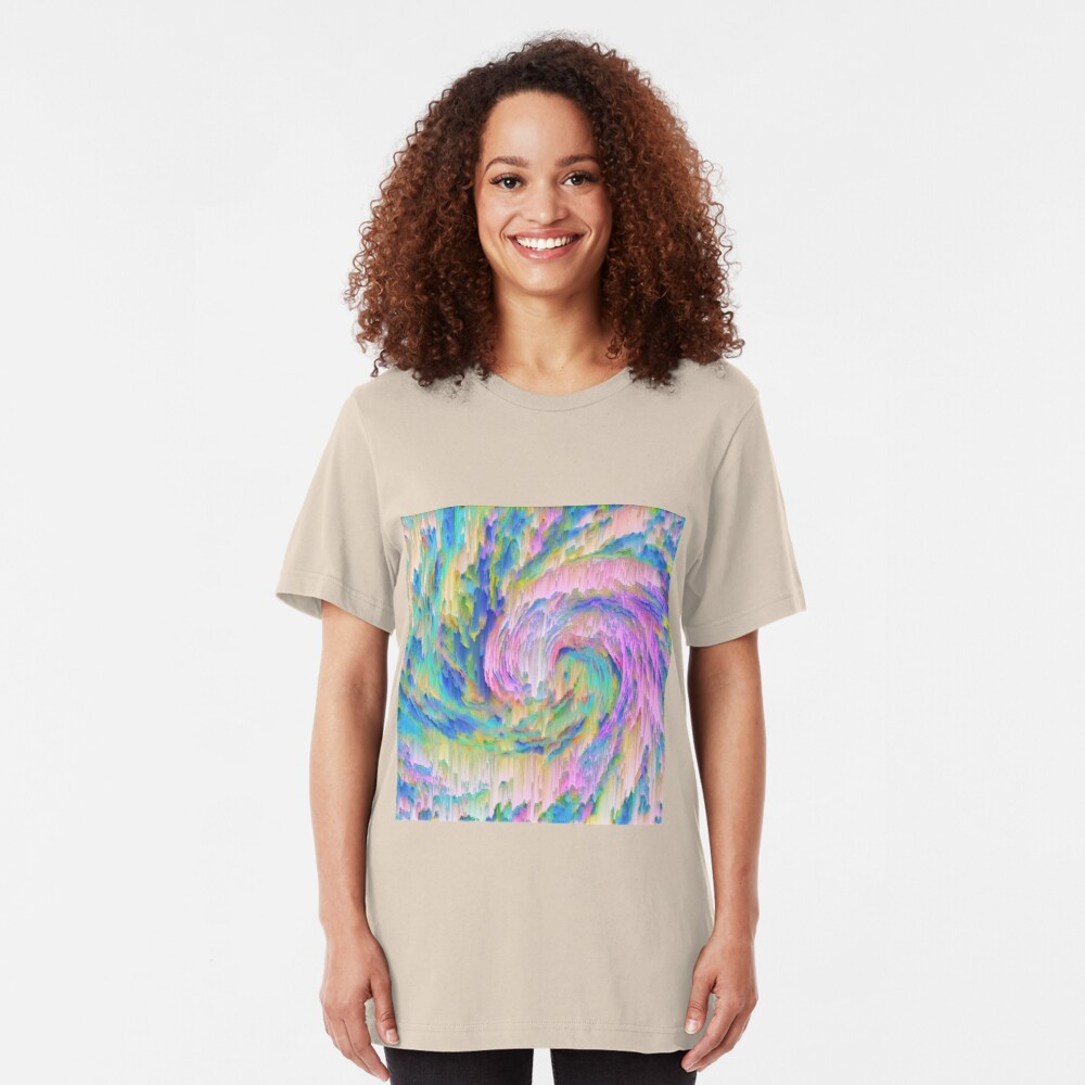Abstract dripping digital wave Slim Fit T-Shirt