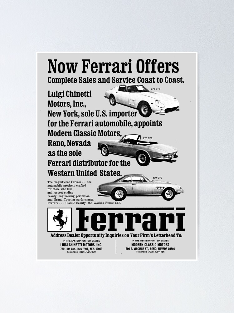 Ferrari 275 330 Poster By Throwbackmotors Redbubble