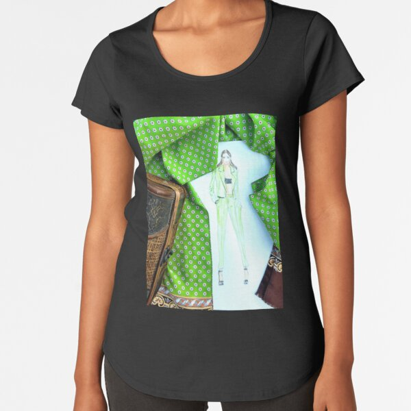Green Vibes Fashion Illustration Modaodaradosti Premium Scoop T-Shirt