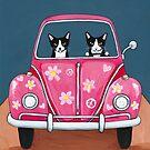 Pink Love Road Trip Cats by Ryan Conners