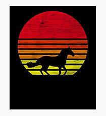 Lámina fotográfica Jinete a caballo retro puesta de sol