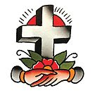 Traditional Cross with Shaking Hands Tattoo Design by FOREVER TRUE TATTOO