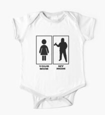 Funny Your Mom My Mom Proud Firefighter Son Daughter Firewoman Gift Idea Short Sleeve Baby One-Piece