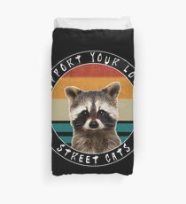 Cute Baby Racoon - Support Your Local Street Cats - Vintage Design Duvet Cover