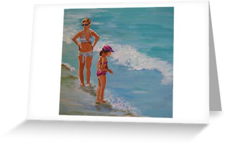 Mother and daughter...by the sea shore by nancy salamouny