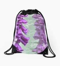 Foxglove Pattern Drawstring Bag