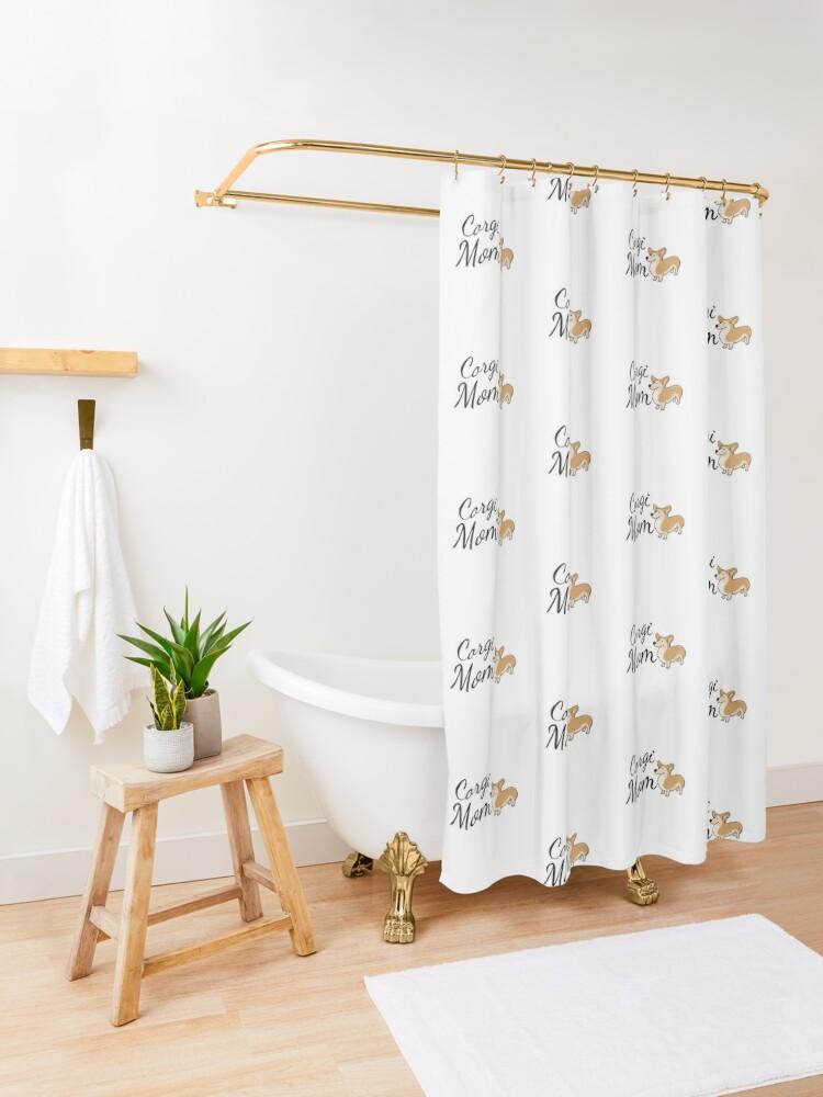 Alternate view of Corgi Mom Shower Curtain
