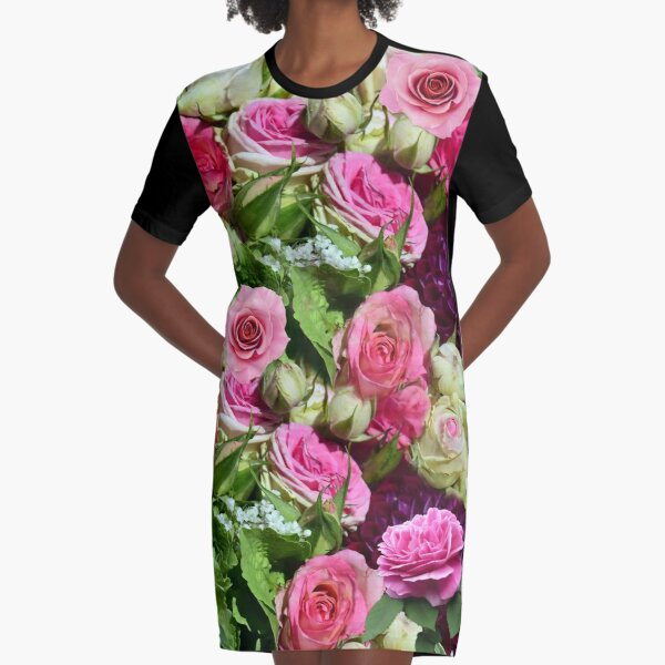 Pinks and Greens Rose Bouquet Graphic T-Shirt Dress