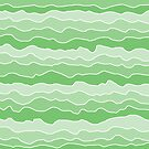 Four Shades of Green with White Squiggly Lines by ShelleyYlstArt