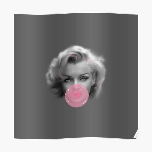Marilyn Monroe bubble gum rose bubblelicious design par UrbanHero Poster