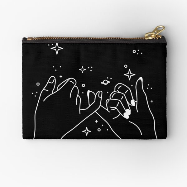 Pinky Promise in white Zipper Pouch