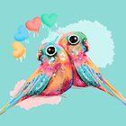 Rainbow Love Birds by Karin Taylor