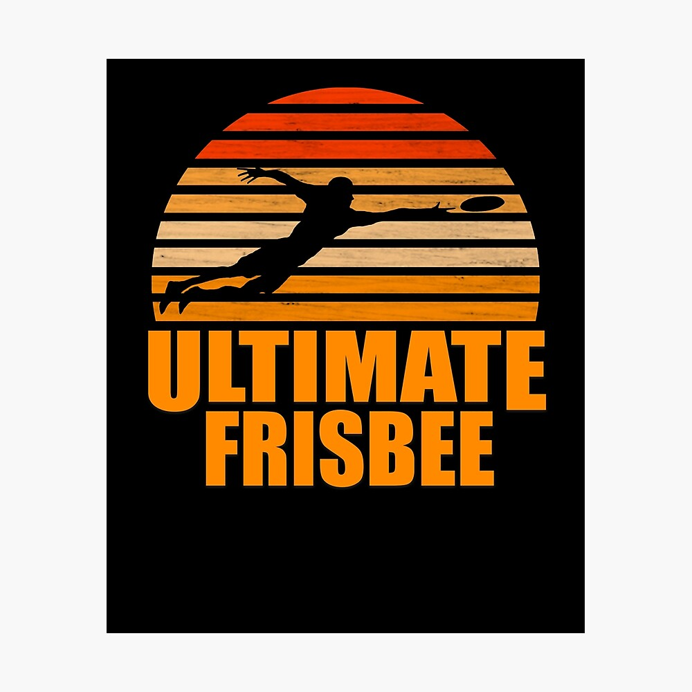 Retro Ultimate Frisbee Player Silhouette Lámina fotográfica