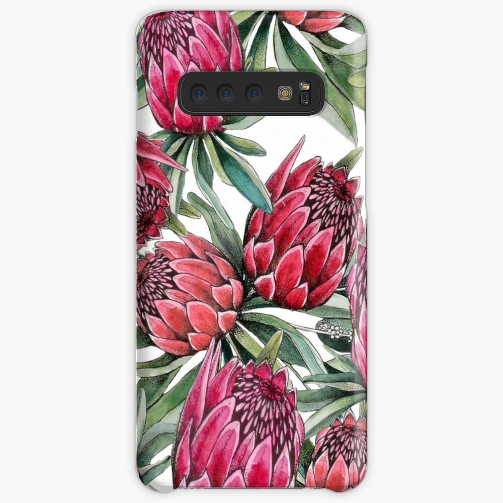 Protea flower Watercolor on white Case & Skin for Samsung Galaxy