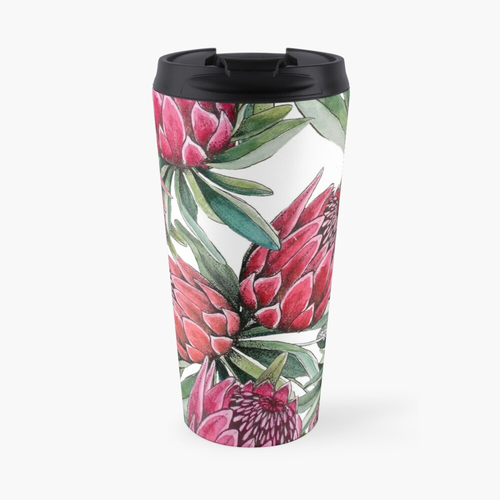 Protea flower Watercolor on white Travel Mug