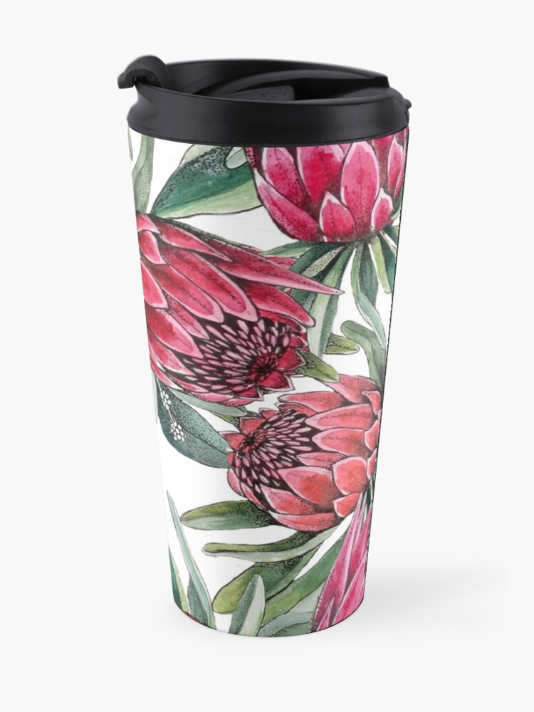 Alternate view of Protea flower Watercolor on white Travel Mug