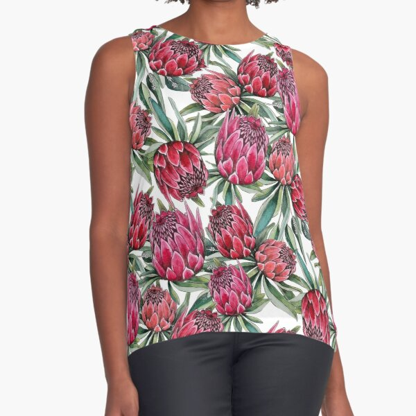 Protea flower Watercolor on white Sleeveless Top