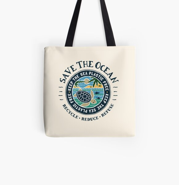 Save The Ocean Keep the Sea Plastic Free Turtle Scene All Over Print Tote Bag