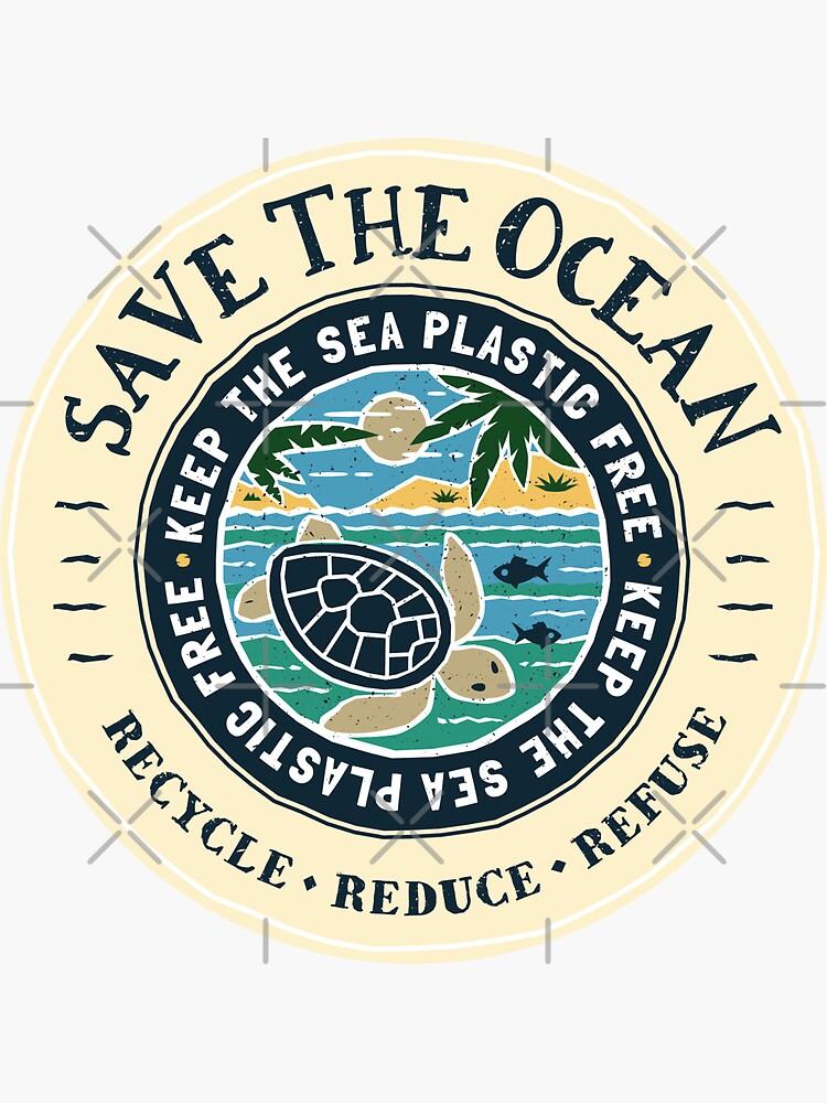 Save The Ocean Keep the Sea Plastic Free Turtle Scene by Bangtees