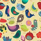 Nettes Weinlese-Vogel-nahtloses Muster von kennasato