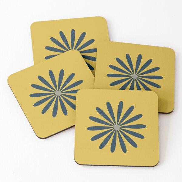 Big Daisy in Navy Blue and Grey on Light Mustard Yellow. Minimalist Mid Century Modern Geometric Retro Floral  Coasters (Set of 4)
