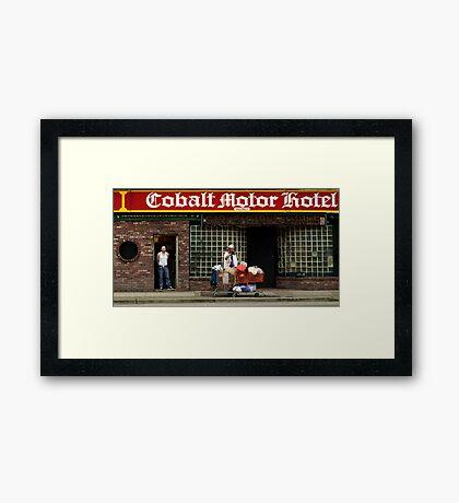Cobalt Hotel Framed Print