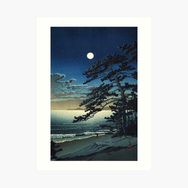 Moon over Ninomiya Beach by Kawase Hasui Art Print