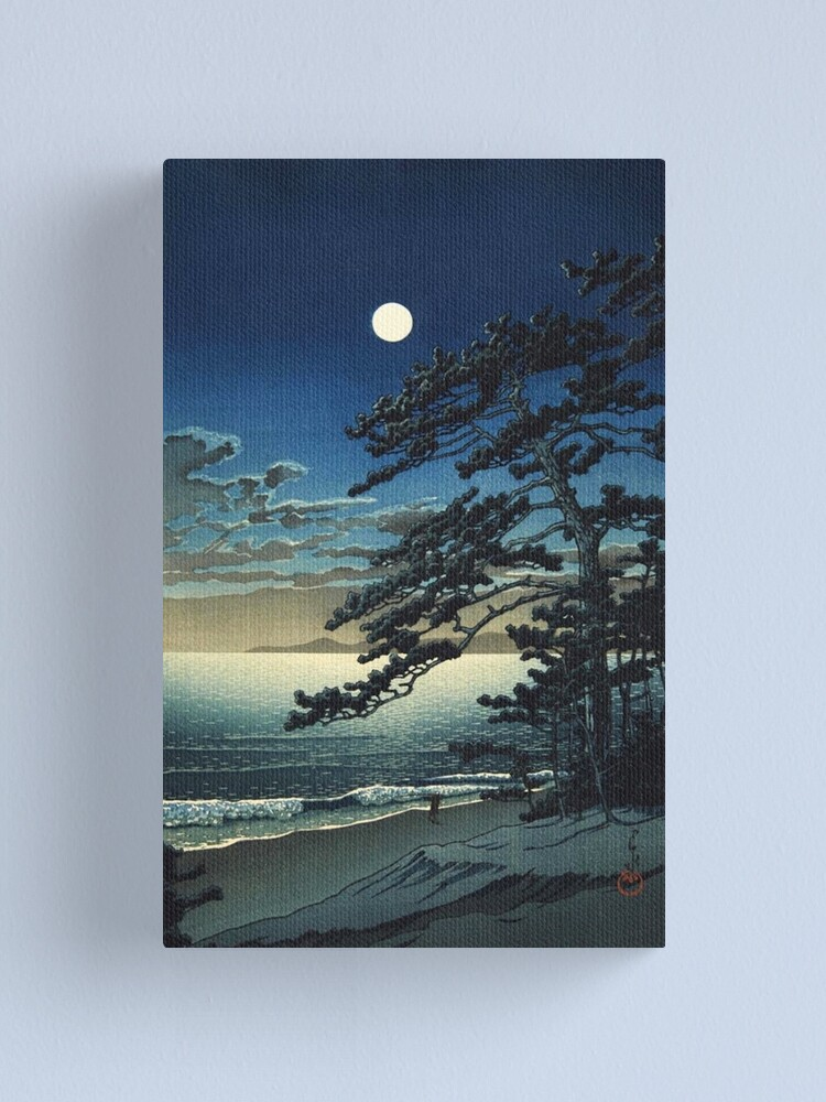Alternate view of Moon over Ninomiya Beach by Kawase Hasui Canvas Print
