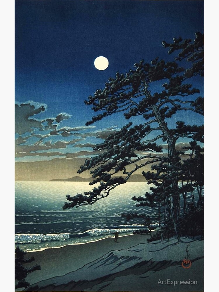 Moon over Ninomiya Beach by Kawase Hasui by ArtExpression