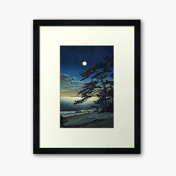 Moon over Ninomiya Beach by Kawase Hasui Framed Art Print