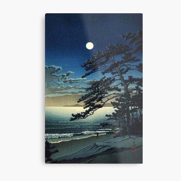 Moon over Ninomiya Beach by Kawase Hasui Metal Print