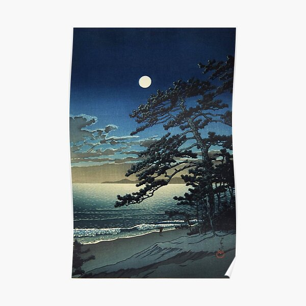Moon over Ninomiya Beach by Kawase Hasui Poster
