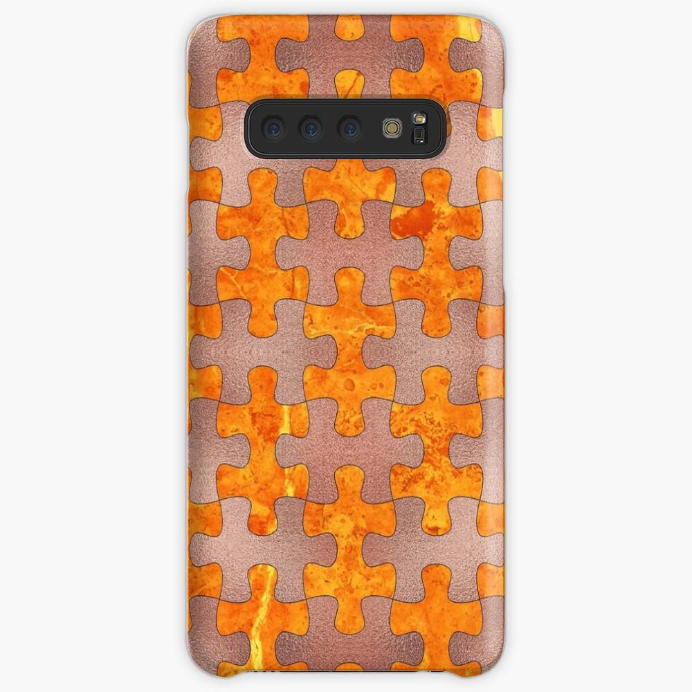 PUZZLE 1 ROSE GOLD ORANGE MARBLE Hülle & Klebefolie für Samsung Galaxy