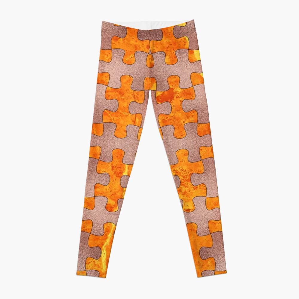 PUZZLE 1 ROSE GOLD ORANGE MARBLE Leggings