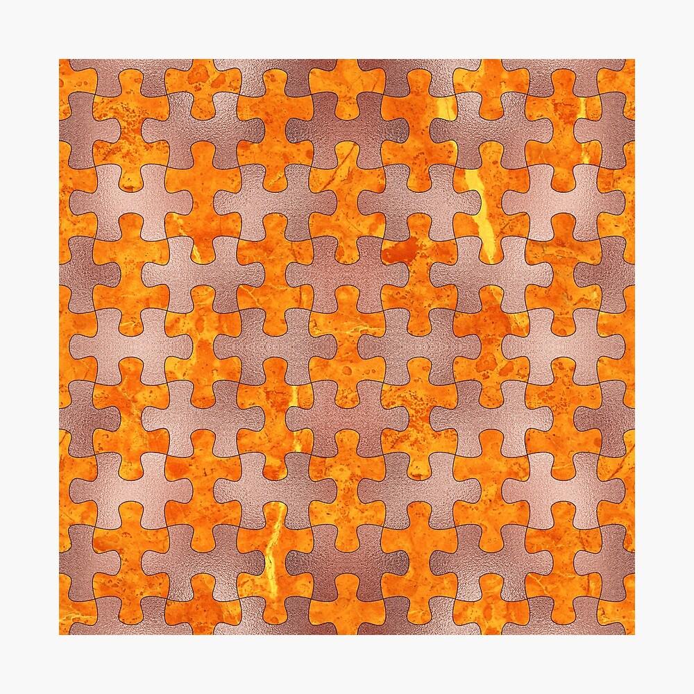 PUZZLE 1 ROSE GOLD ORANGE MARBLE Fotodruck