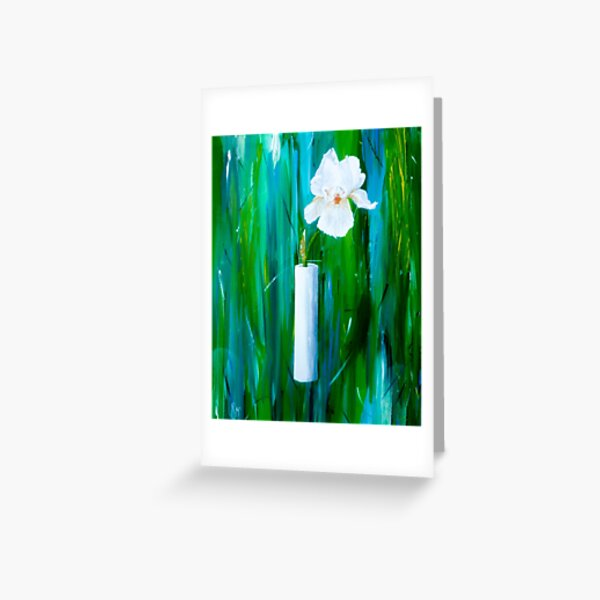 Single Iris in a Vase Greeting Card